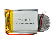 Lithium Ion Polymer Battery 3.7V 1000mAh quarter size comparison