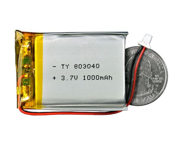 Lithium Ion Polymer Battery 3.7V 1000mAh - TinyCircuits
