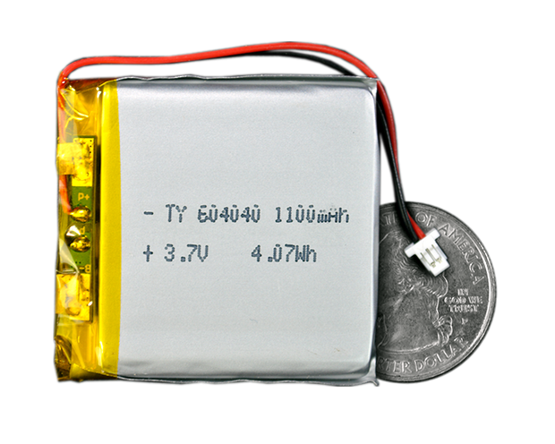 Lithium Ion Polymer Battery - 3.7V 1100mAh - TinyCircuits