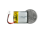 Lithium Ion Polymer Battery - 3.7V 150mAh quarter size comparison