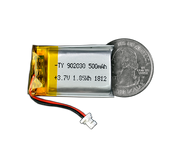 Lithium Ion Polymer Battery - 3.7V 500mAh quarter size comparison