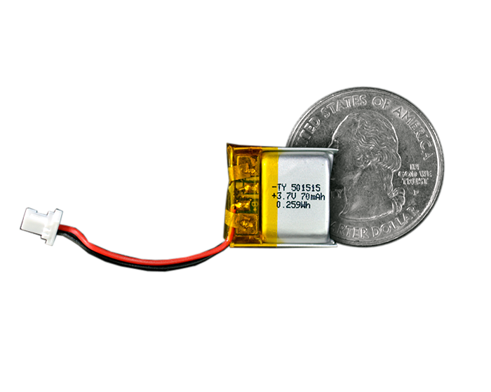 Lithium Ion Polymer Battery - 3.7V 70mAh quarter size comparison