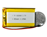 Lithium Ion Polymer Battery - 3.7V 850mAh quarter size comparison