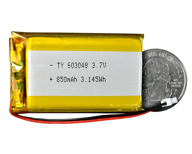 Lithium Ion Polymer Battery - 3.7V 850mAh - TinyCircuits