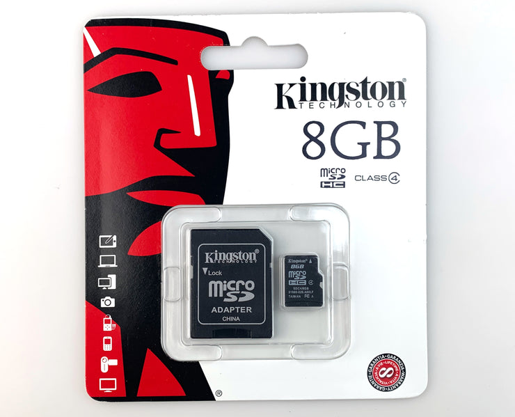 MicroSD Card and Adapter 8GB inside of packaging