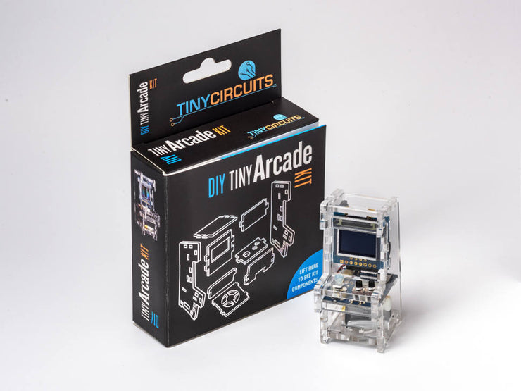 Tiny Arcade DIY Kit - Retail - next to packaging