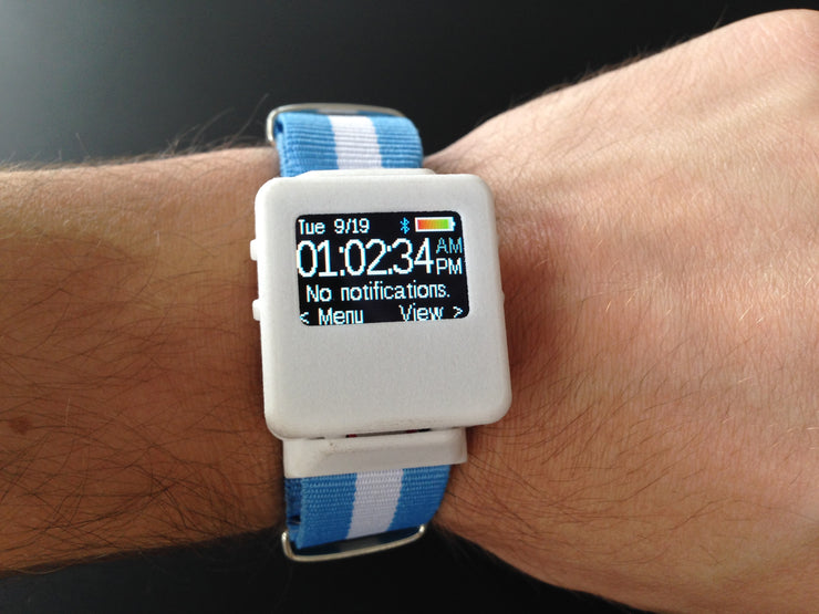 TinyScreen Smart Watch Kit on someone's wrist