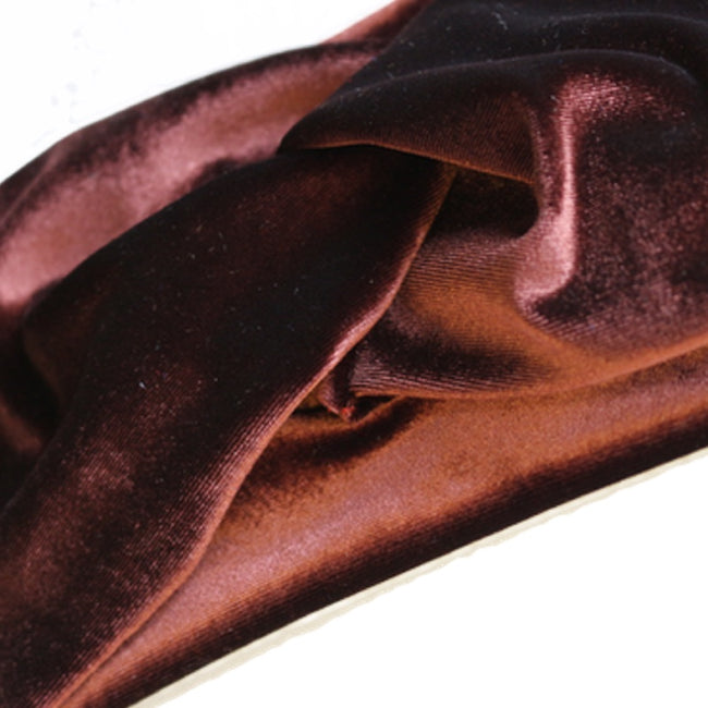 close up of chocolate brown velvet turban headband