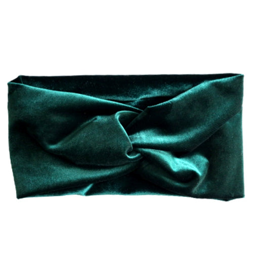 hunter green stretch velvet turban headband
