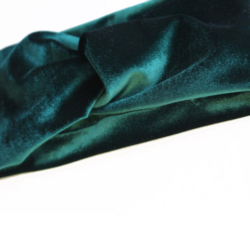 close up of hunter green velvet turban headband