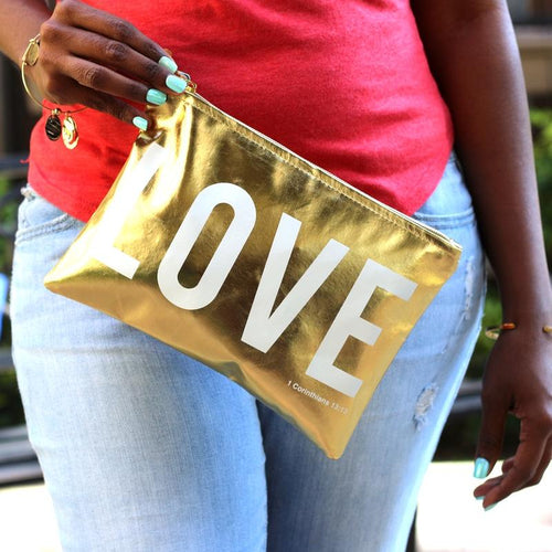 LOVE - Metallic Gold Makeup/Cosmetic Bag/Accessory Pouch - Ven & Rose
