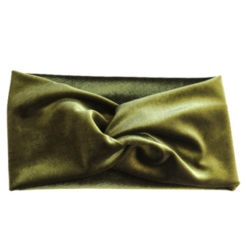 moss green turban twist headband made with stretch velvet