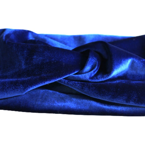 close up of royal blue velvet turban headband