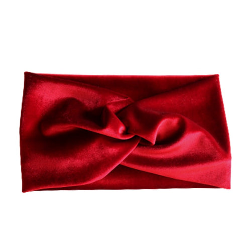 red stretch velvet turban twist headband