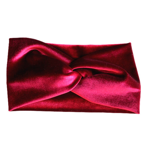 berry colored stretch velvet turban twist headband