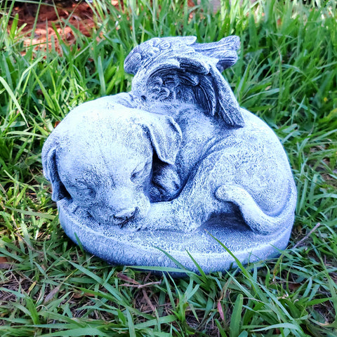 Concrete Statue - Angel Doggy