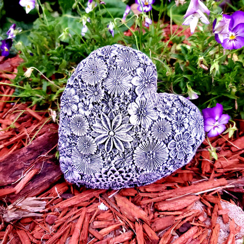 Heart Stepping Stone Flower Stepping Stone Concrete Stone Keepsake Stone Breast Milk Stone Breastmilk Stone