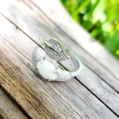 Adjustable Breast Milk Keepsake Leaf Ring