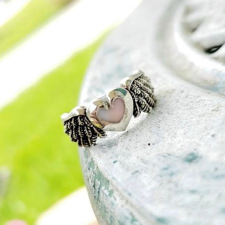 Angel Wings Heart Ring