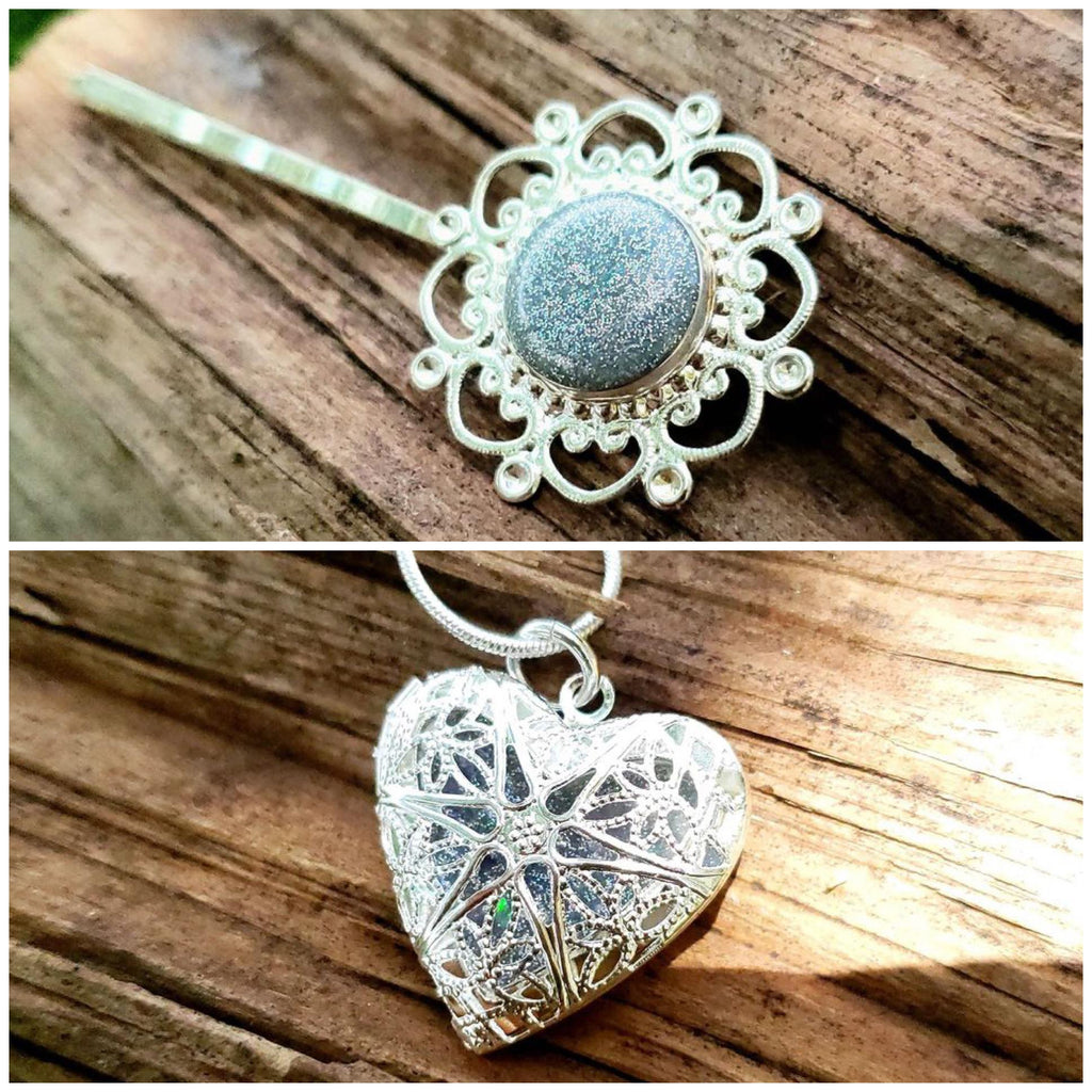 Filigree Hair Pin and Heart Locket Necklace Set