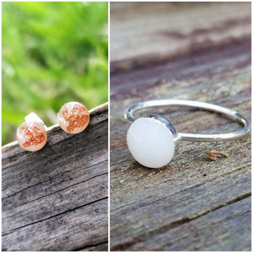 Sterling Silver Simple Bezel Ring and Simple Bezel Earring Set