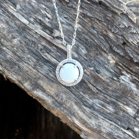 Cubic Zirconia Halo Necklace