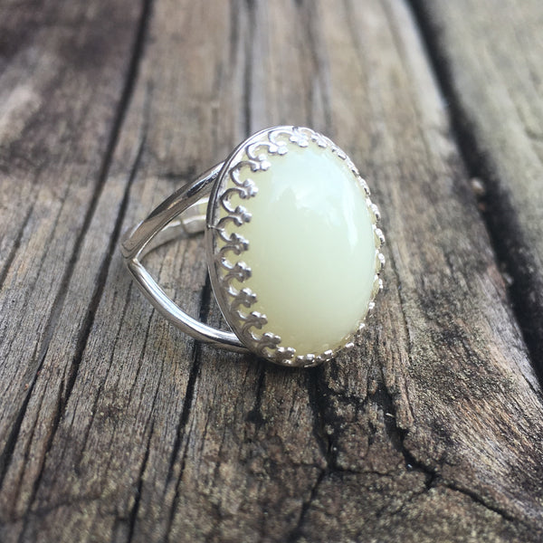 Oval Crown Ring - Sterling Silver