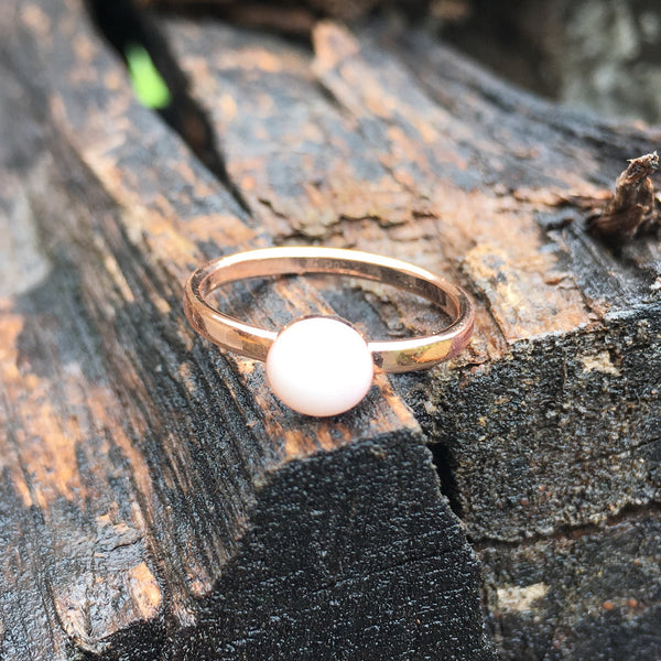 Rose Gold Plated Stainless Steel Simple Bezel Ring - 6mm