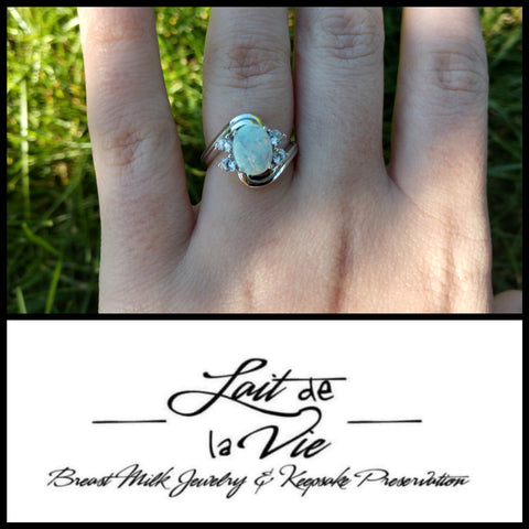 The Zen - Breast Milk Oval Cubic Zirconia Ring