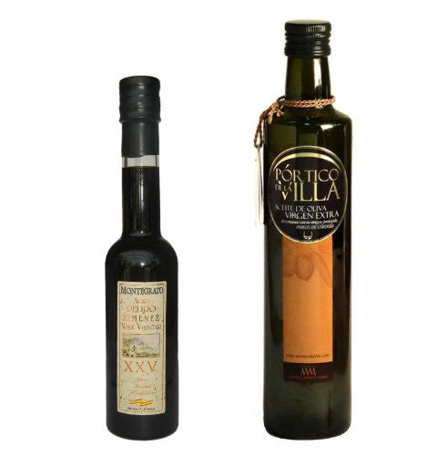 Olive and Gourmet EVOO and Vinegar Pack- Portico de la Villa Award Winning Cold Pressed Extra Virgin Olive Oil, 2011-2012 Harvest and Grand Reserve Pedro Ximenez Vinegar