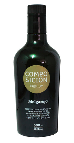 Melgarejo Composicion Premium Blend- Award Winning Cold Pressed EVOO Extra Virgin Olive Oil, 17-Ounce Black Glass bottle.2016-2017 Harvest