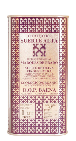 Cortijo de Suerte Alta Picual- Award Winning, NOP Organic Certified, Cold Pressed EVOO Extra Virgin Olive Oil 33-Ounce Tin