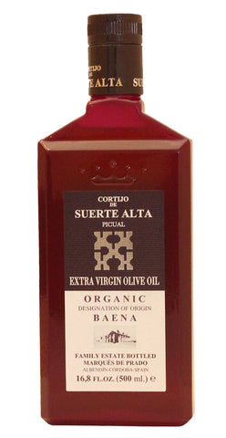 Cortijo de Suerte Alta Picual- Award Winning, NOP Organic Certified, Cold Pressed EVOO Extra Virgin Olive Oil, 17-Ounce Glass Bottle.2016-2017 Harvest