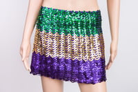 Mardi Gras Flared Sequin Mini Skirt