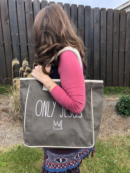 ONLY JESUS Jute Canvas Tote