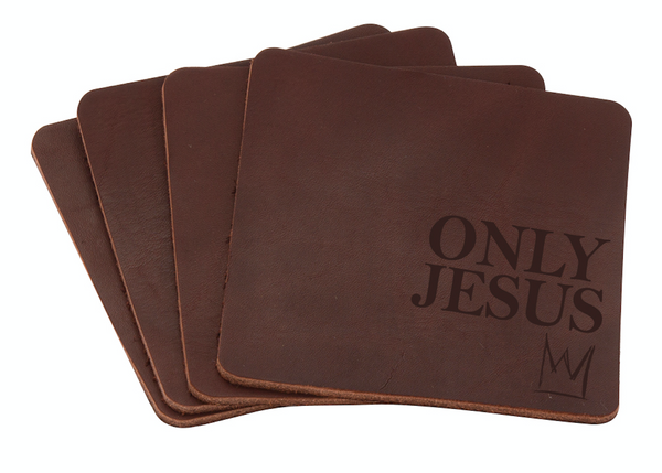 ONLY JESUS Leather Coaster 4-pk