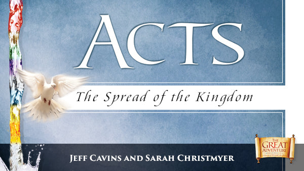 A light blue logo image with a dove on it for Acts: The Spread of the Kingdom Study Program by Jeff Cavins and Sarah Christmyer