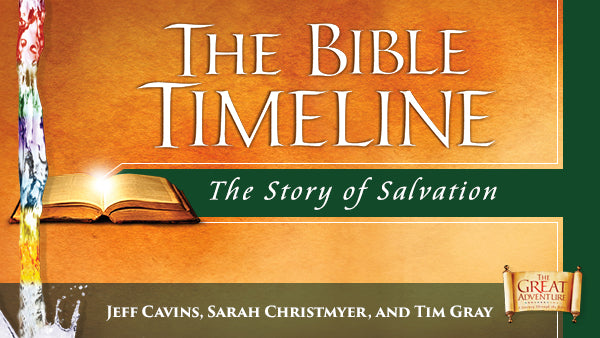 The gold and green logo for the Catholic Bible Study, The Bible Timeline: The Story of Salvation by Jeff Cavins, Sarah Christmyer, and Tim Gray