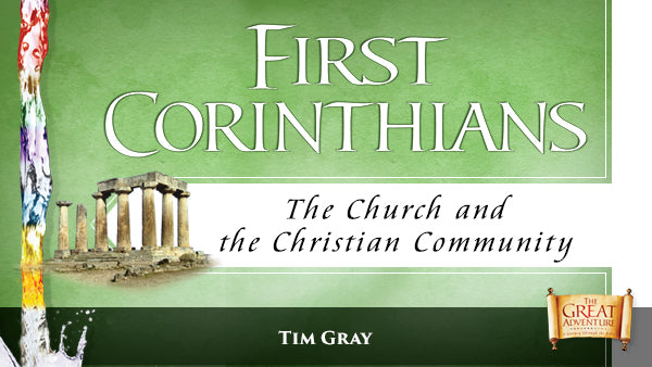 The green logo for the Bible Study, First Corinthians: The Church and the Christian Community Study Program, by Tim Gray