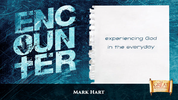 The blue logo for the Bible Study, Encounter: A Middle School Bible Study, by Mark Hart