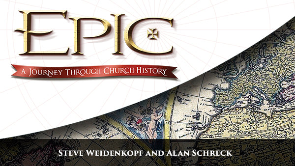 The white, gold, and black logo of the Catholic study program Epic: A Journey Through Church History by Steve Weidenkopf, Dr. Alan Schreck, and Ascension