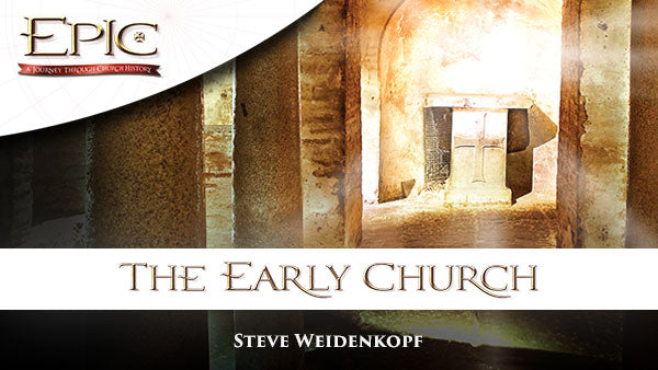 The white and gold logo of the Catholic study program Epic: The Early Church by Steve Weidenkopf and Ascension