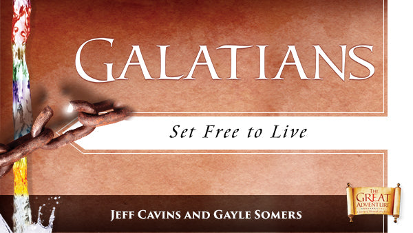 The brown logo for the Bible Study, Galatians: Set Free to Live Study Program, by Jeff Cavins and Gayle Somers.