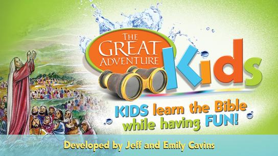 The colorful logo for the Catholic Bible Study, Great Adventure Kids by Jeff Cavins and Emily Cavins
