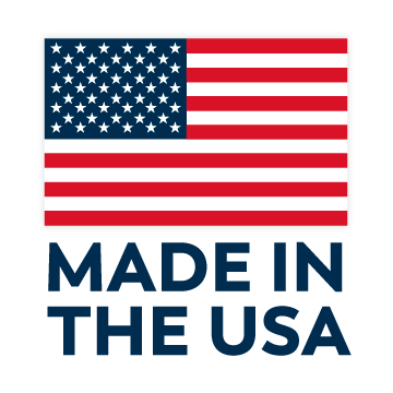 "An American flag and words that say ""Made in the USA"""