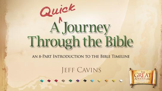 The tan logo for the Catholic Bible Study, A Quick Journey Through the Bible by Jeff Cavins