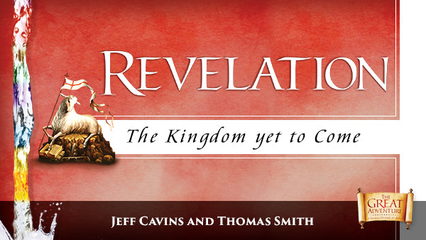 The red logo for the Bible Study, Revelation: The Kingdom Yet to Come Study Program, by Jeff Cavins and Thomas Smith