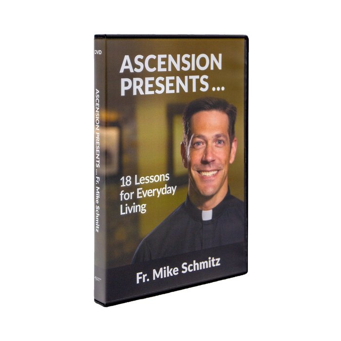 Ascension Presents...Fr. Mike Schmitz: 18 Lessons for Everyday Living by Fr. Mike Schmitz and Ascension. The DVD cover features Father Mike smiling.