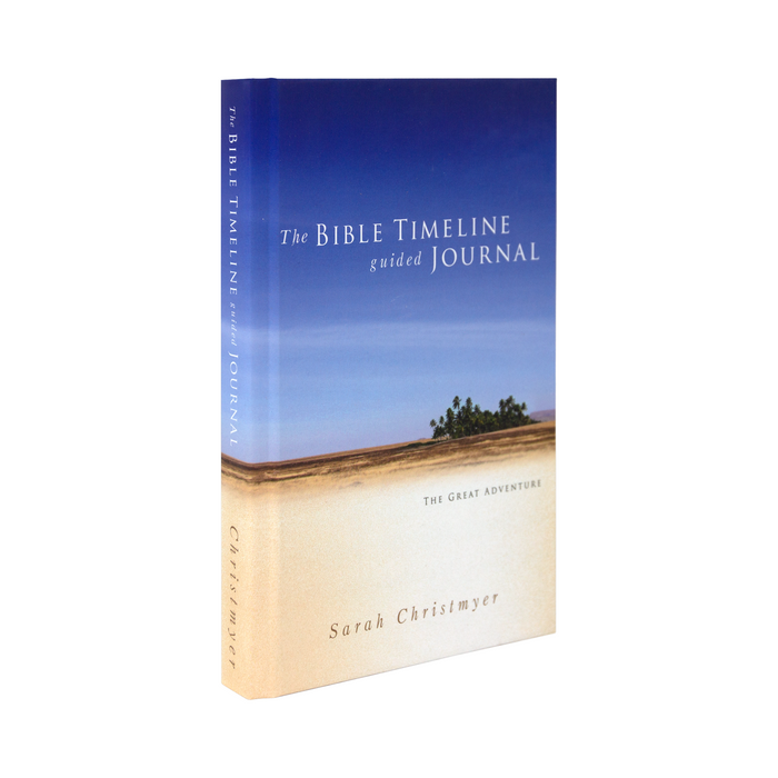 The blue and tan cover photo of the The Bible Timeline Guided Journal by Sarah Christmyer and published by Ascension. The cover features a beach with a blue sky and some vegetation.