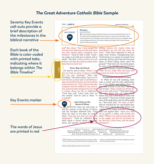 A sample page from the Great Adventure Catholic Bible from Jeff Cavins and Ascension with arrows highlighting the key features of the Bible including 70 key event callouts, the Bible timeline's color-coded system, Jesus Christ's words printed in red, and key event markers.
